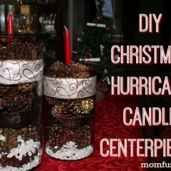 DIY Christmas Hurricane Candle Centerpieces