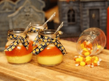 Candy Corn Creme Brûlée in Mini Pots