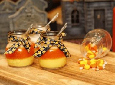 Candy Corn Creme Brûlée in Mini Pots