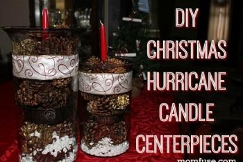 DIY Christmas Hurricane Candle Centerpieces
